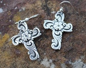 Rockin Out Jewelry - Hope- Classy - Western Cross Earrings - Floral - Sterling Silver - Antiqued - Small Cross - Gift For Her - Valentines
