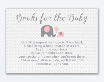 Elephant Books For Baby - Baby Shower Invitation Insert - Printable Invitation Insert - Books For Baby Card - Pink Elephant