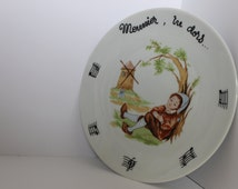 Louis Lourioux Child's Dinner Plate - vintage collectible french song christening baby gift
