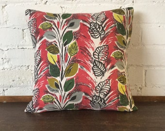Handmade Mid Century Barkcloth Cushion