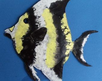 Tropical Fish Metal Sculpture - Tropical Fish, Wall Art, Fish Art, Beach Decor, Beach Art
