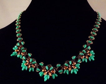 Beaded Turquoise and Bronze  Lacey Necklace