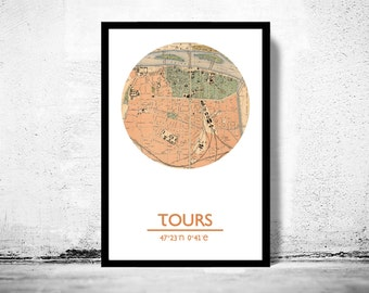 TOURS - city poster - city map poster print