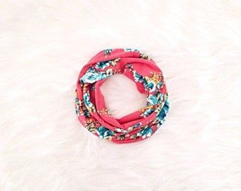 Baby  Scarf - Floral on Coral - READY TO SHIP