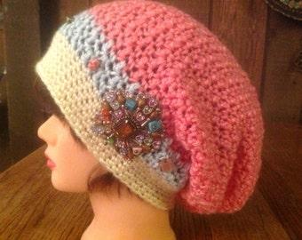 Pink Slouchy Crochet Hat