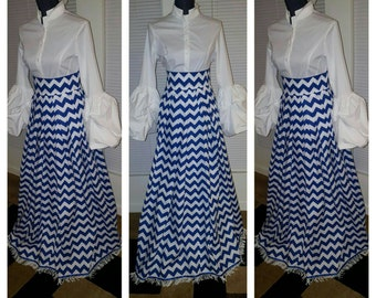 100% Cotton Chevron Pattern Skirt with Fringes
