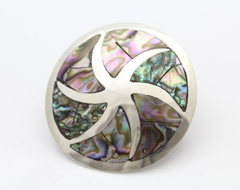 Large Disc Brooch-Pendant With Abalone Inlay in Taxco Sterling Silver. [10872]