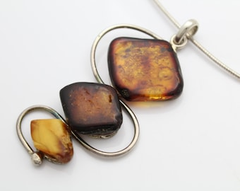 Large Artisan Sterling SIlver and Natural Amber Stacked Pendant Necklace. [6779]