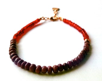 Red Ruby Bracelet, with Seed Beads and a Copper Heart Charm, Delicate Bracelet, July Birthstone, Red Gemstone Jewelry