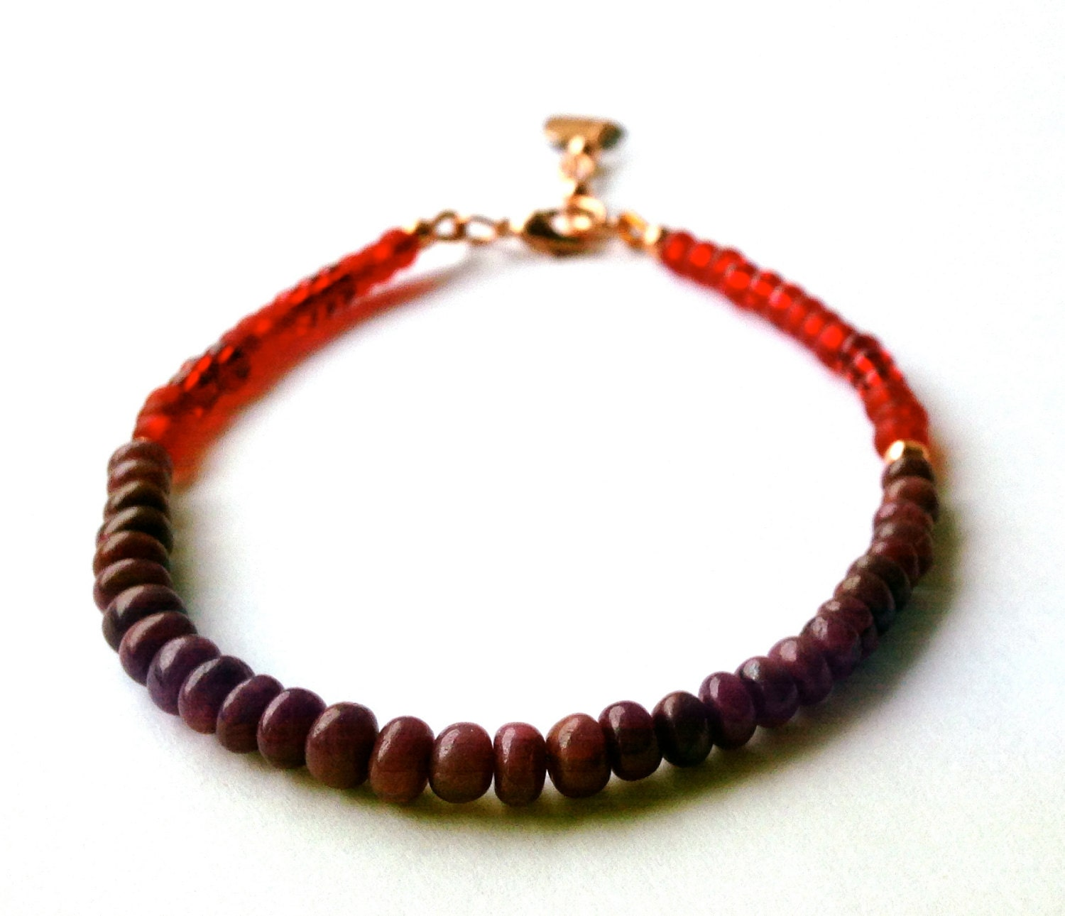 Red Ruby Beads: Red Ruby Bracelet With Seed Beads And A Copper Heart Charm