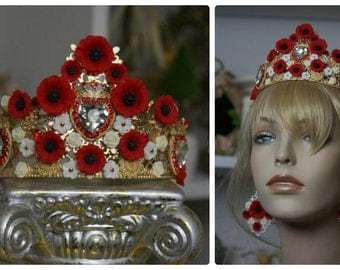 Poppy Flower Rhinestone Headband Hairwear