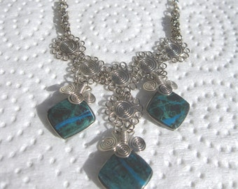 GET 15% OFF Peruvian Chrysacolla Stone Necklace #58