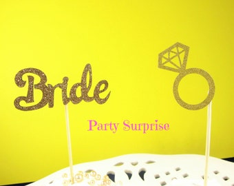 Bride Cupcake Toppers Diamond Ring Gold or Silver Bridal Shower Engagement Party Rehearsal Dinner Cupcake Toppers