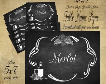 Printable Wedding Table Name Signs for your Vineyard or Winery Wedding Sign, Vineyard Wedding, Rustic Wedding, Chalkboard DIY Style