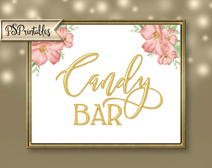 Printable Gold & White Candy Bar Sign for wedding, shower or special event  DIY Download - You GET 4 sizes - 14K Gold Collection