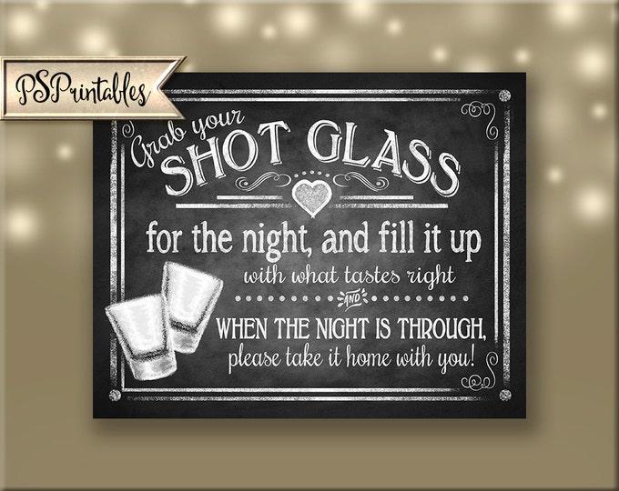 Shot Glass Wedding Favors Printable chalkboard sign, wedding shot glass, party favors, diy wedding favor sign - Rustic Collection