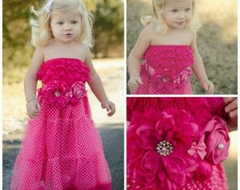 Girls Hot Pink Dress And Sash // Flower Girl Dresses // Strapless Dress // Birthday