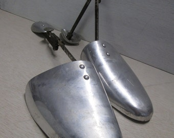Vintage Metal shoe trees, vintage shoe shapers, shoe stretchers, adjustable shoe tree