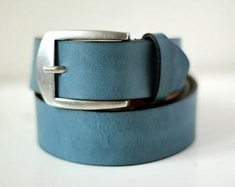Free shipping! Blue belt, blue leather belt, blue men's belt, men's belt, leather belt, light blue belt, casual belt