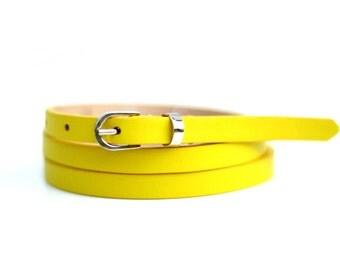 Free shipping! Leather belt, woman belt, neon belt, yellow belt, waist belt, skinny belt, narrow belt, thin belt, lemon belt