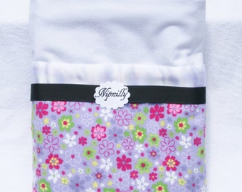 Purple floral flannel baby blanket with satin binding