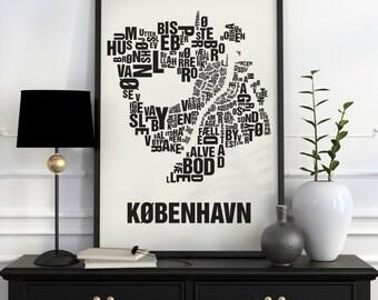 Copenhagen Typographic Map Screen Print