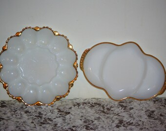 White Milk Glass w Gold Trim Fire King Relish Tray/Sandwich Tray and Anchor Hockey Egg Tray w Gold Trim, 1960's