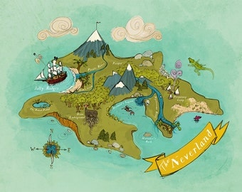 Neverland Map // Nursery Art Print