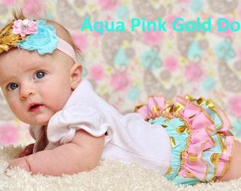 Aqua, Pink and Gold Dot Ruffle Bum Baby Bloomer w/ coordinating flower headband