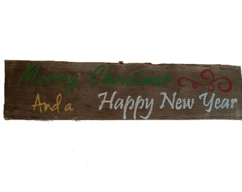 Holiday Sign, Merry Christmas, Happy New Year, Rustic Sign, Holiday Decor, Barn Wood, Seasonal Door Hanger, Christmas Sign, Reclaimed Wood