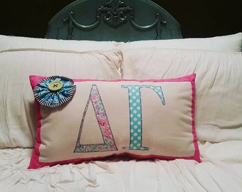 Ready to ship - Delta Gamma Applique Pillow