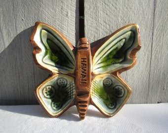 butterfly trinket tray, treasure craft pottery butterfly, earthy green butterfly dish, change holder, earring holder, catch all dish, 1970s