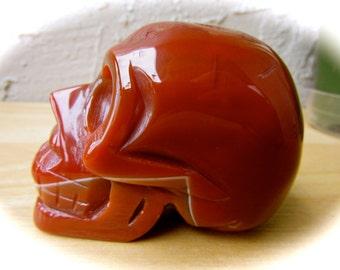 Carnelian Chalcedony Carved Crystal Skull 75mm 293g