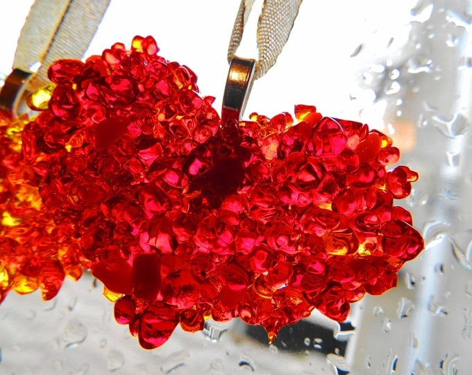 Red fused glass hanging heart. Valentines gift. Wedding anniversary. Glass decor. Window decorations. Colourful window glass. Thank you gift