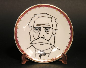 Victor Hugo OOAK Original Portrait - 19th Century Poet - French Dramatist - Hand Painted Wall Plate - Wall Decor Collection - Vintage Saucer
