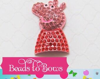 47mm Peppa Pig Pendant, Chunky Peppa Pig Pendant, Chunky Rhinestone Pendant, Chunky Necklace Supply, Red Dress Peppa Pig Bubblegum Supply