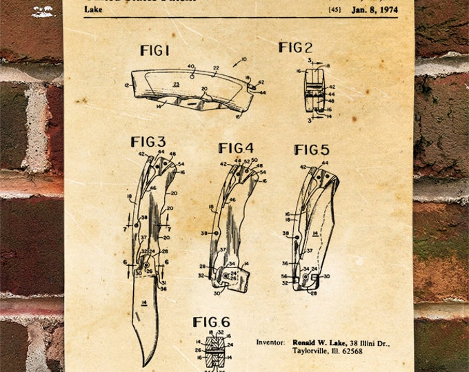 KillerBeeMoto: Duplicate of Original U.S. Patent Drawing For Vintage Folding Knife