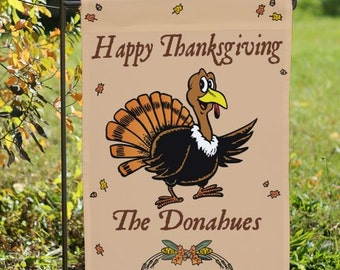 Personalized Garden Flag Turkey, Happy Thanksgiving Flag, Welcome Flag