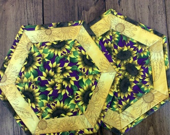 Kaleidoscope Quilted Mug Rugs, Sunflower Hexagon Coasters, Candle Mats, Mini Placemats, Unique Coffee Table Decor