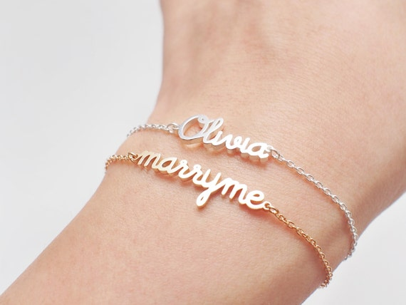 Love Message Jewelry Custom Name Bracelet Marry Me