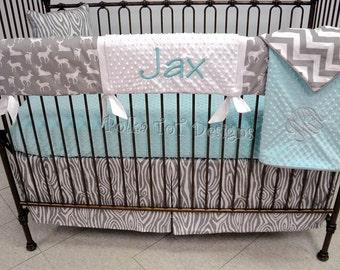 Custom Bumperless Crib Bedding- Gray & Aqua Woodland: Jaxon