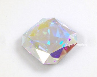 4675 CRYSTAL AB 23mm Swarovski Crystal Faceted Square Large Octagon