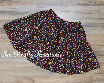 Girl's Skirt - Black with Multi Color Dots Skirt