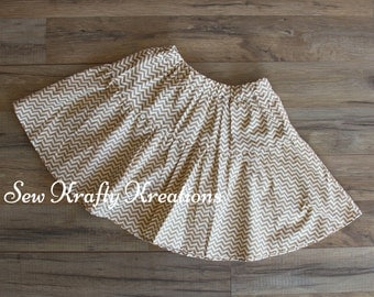 Children's Size 8 - Gold Chevron Skirt