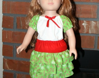 "White with Green Candy Cane Sleeves Top and Matching Skirt for 18"" doll like American Girl"