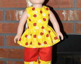 "Yellow Ladybugs Tank and Red Capris Set for 18"" doll like American Girl"