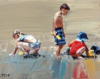 Canvas print, of my, original artwork, impressionist, oil painting, 'Sand Play Petite', colorful artwork, beach art, beach house decor.
