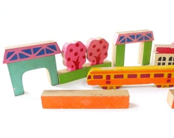 VINTAGE Lovely Children's Wood / Wooden Blocks , Station Set / Building Blocks , Kids Toy , 22 Pieces , Collector , Made in Japan , Colorful