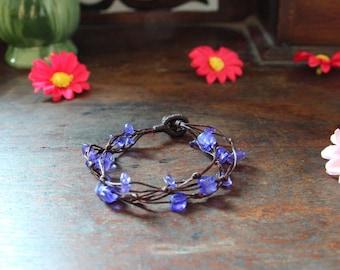 Amethyst Bracelet ,Stone Bracelet ,Cotton Wax Cord