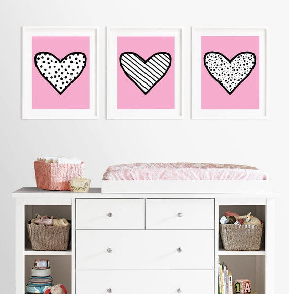 Black And White Nursery Wall Decor : Nursery wall art black and white hearts with pink background